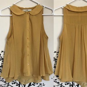 F21 mustard yellow sheer baby doll buttonup blouse